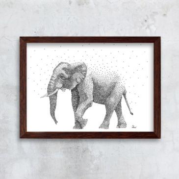 Elefant sort/hvid