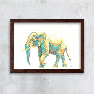 Elefant - farverig
